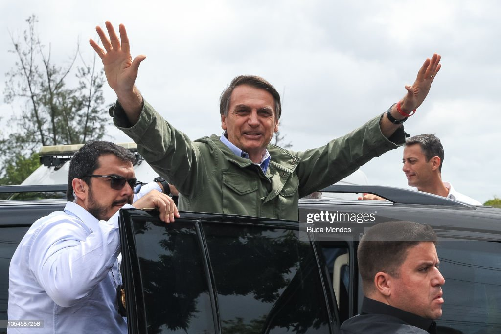 Brazilian Presidential Candidate Jair Bolsonaro Votes In Country's Election : News Photo