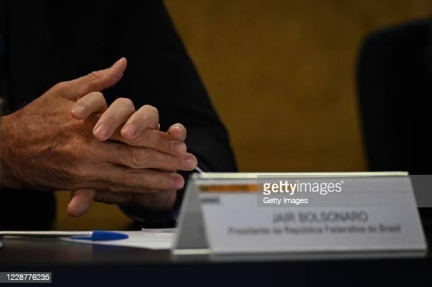 Jair Bolsonaro President of Brazil gestures during the launch ceremony of the Mineracao e Desenvolvimento Program on September 28 2020 in Brasilia...