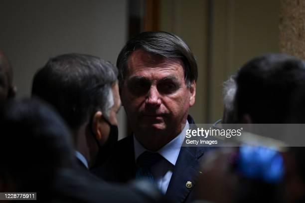Jair Bolsonaro President of Brazil looks on after the launch ceremony of the Mineracao e Desenvolvimento Program on September 28 2020 in Brasilia...