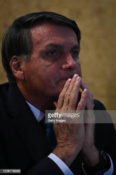 Jair Bolsonaro President of Brazil looks on during the launch ceremony of the Mineracao e Desenvolvimento Program on September 28 2020 in Brasilia...