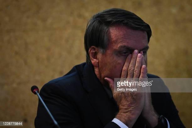 Jair Bolsonaro President of Brazil reacts during the launch ceremony of the Mineracao e Desenvolvimento Program on September 28 2020 in Brasilia...