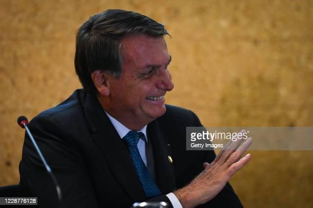 Jair Bolsonaro President of Brazil smiles during the launch ceremony of the Mineracao e Desenvolvimento Program on September 28 2020 in Brasilia...