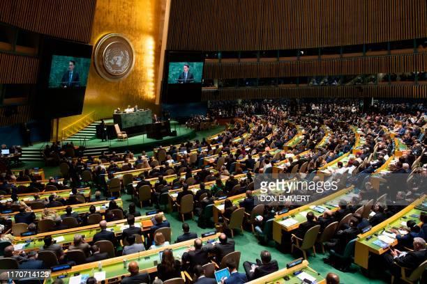 Jair Bolsonaro, President of Brazil speaks at the 74th session of the United Nations General Assembly September 24 in New York.