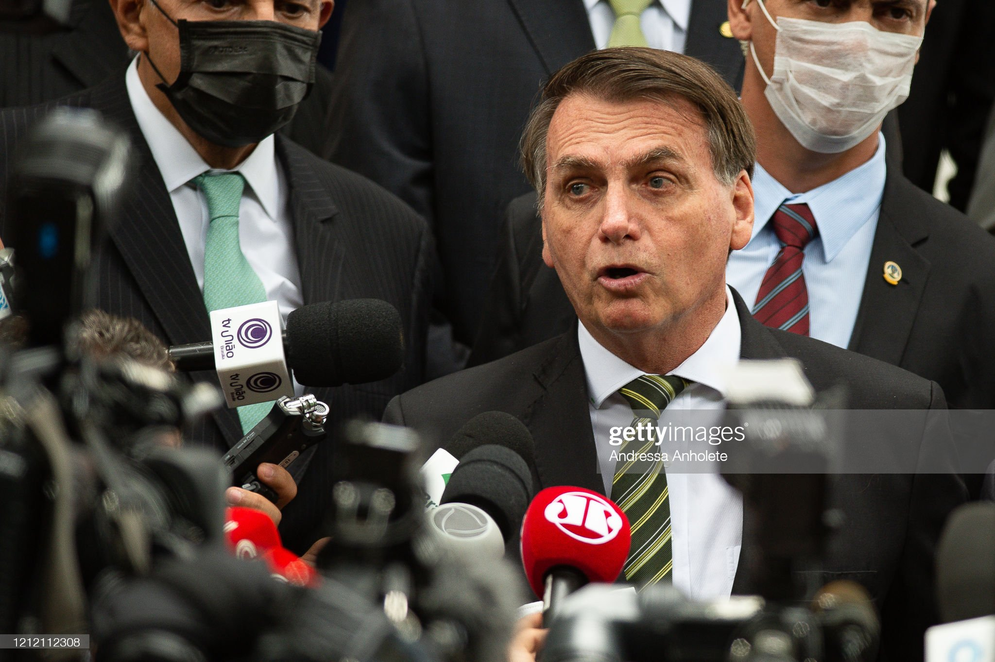President Jair Bolsonaro Meets with Members of the Supreme Court (STF) Amidst the Coronavirus (COVID - 19) Pandemic : Fotografía de noticias