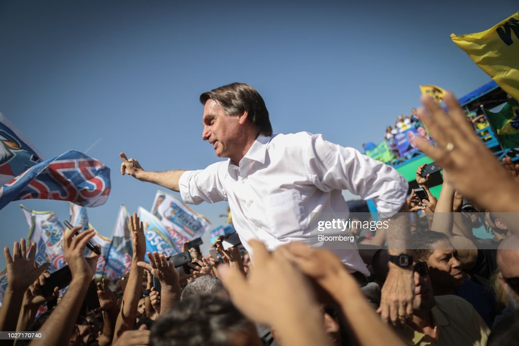 Presidential Candidate Jair Bolsonaro Holds Campaign Rally : News Photo