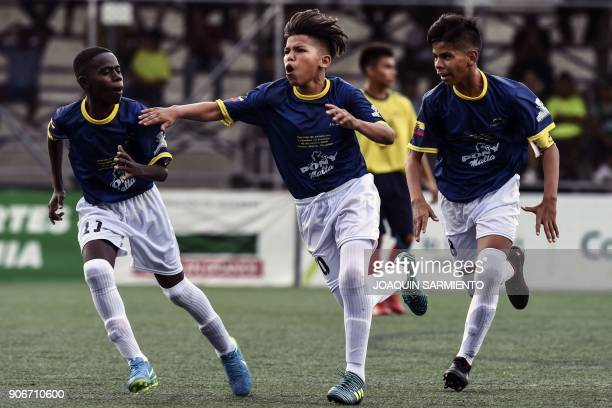 Jair Guerrero from Ecuador celebrates after scoring against Colombia during an under13 friendly match betwee Colombia and Ecuador in Medellin on...