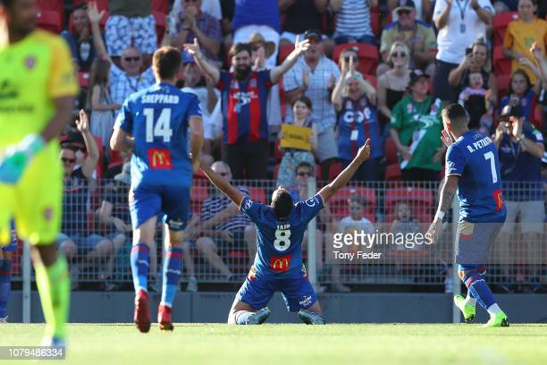 Jair of the Jets celebrates a goal during the round seven ALeague match between the Newcastle Jets and the Brisbane Roar at McDonald Jones Stadium on...