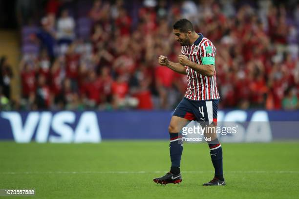 Jair Pereira of CD Guadalajara celebrates his sides first goal during the FIFA Club World Cup UAE 2018 Second round match between Kashima Antlers and...
