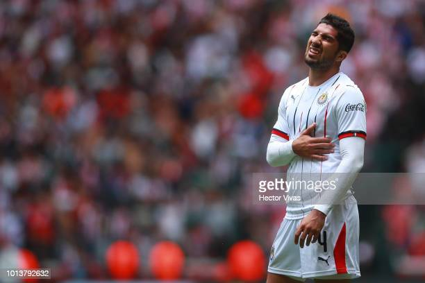 Jair Pereira of Chivas reacts during the third round match between Toluca and Chivas as part of the Torneo Apertura 2018 Liga MX at Nemesio Diez...