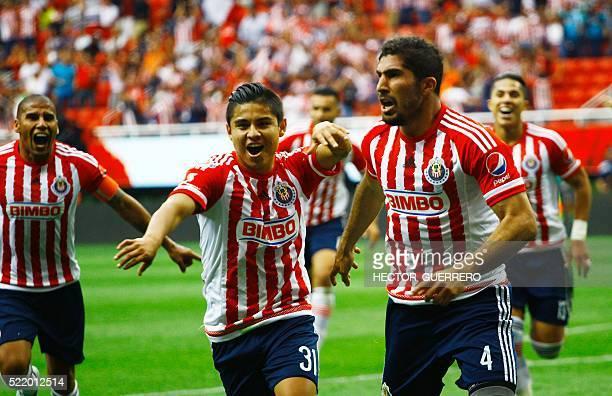 Jair Pereira of Guadalajara celebrates after scoring against Atlas during their 2016 Mexican Clausura football tournament match at Chivas' stadium in...