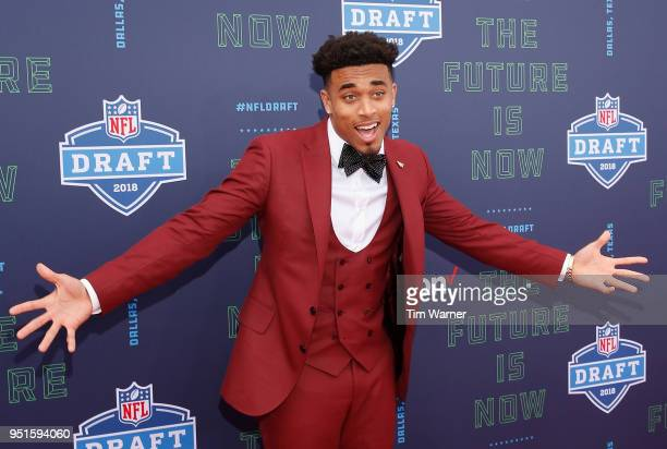 Jaire Alexander of Louisville poses on the red carpet prior to the start of the 2018 NFL Draft at ATT Stadium on April 26 2018 in Arlington Texas