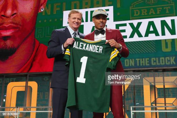 Jaire Alexander of Louisville poses with NFL Commissioner Roger Goodell after being picked overall by the Green Bay Packers during the first round of...