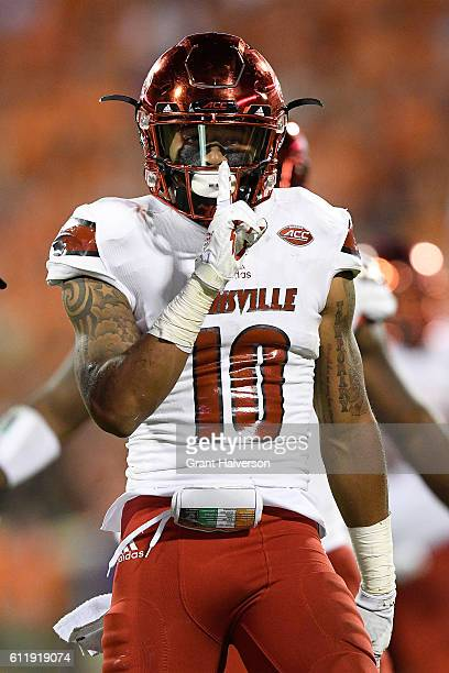 Jaire Alexander of the Louisville Cardinals reacts after his fourth quarter interception against the Clemson Tigers at Memorial Stadium on October 1...