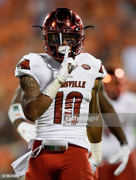 Jaire Alexander of the Louisville Cardinals reacts against the Clemson Tigers during the game at Memorial Stadium on October 1 2016 in Clemson South...