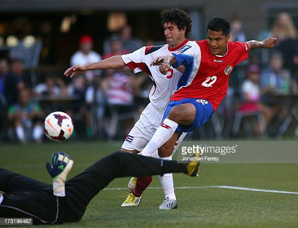 Jairo Arrieta of Costa Rica scores a goal against Cuba during the 2013 CONCACAF Gold Cup on July 9 2013 at JeldWen Field in Portland Oregon