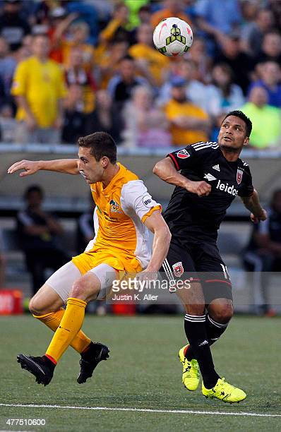 Jairo Arrieta of DC United battles for a ball against Anthony Arena of the Pittsburgh Riverhounds in the second half during the 2015 US Open Cup at...
