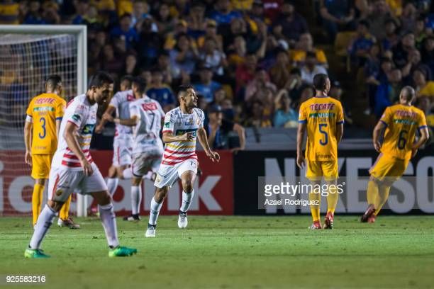 Jairo Arrieta of Herediano celebrates after scoring the first goal of his team during the second leg match between Tigres UANL and Herediano as part...