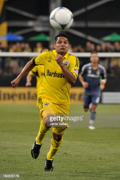 Jairo Arrieta of the Columbus Crew chases after a loose ball in the second half against the Los Angeles Galaxy on August 15 2012 at Crew Stadium in...