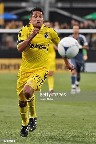 Jairo Arrieta of the Columbus Crew controls the ball against the Los Angeles Galaxy on August 15 2012 at Crew Stadium in Columbus Ohio Columbus and...