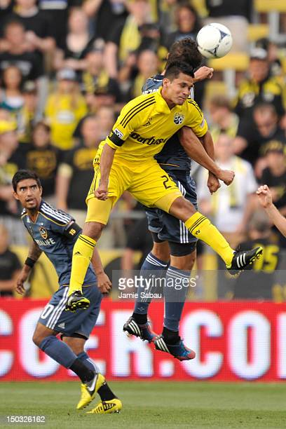 Jairo Arrieta of the Columbus Crew wins control of the ball on a header in front of Omar Gonzalez of the Los Angeles Galaxy in the first half on...