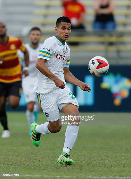 Jairo Arrieta of the New York Cosmos receives a pass against the Fort Lauderdale Strikers on June 4 2016 at Lockhart Stadium in Fort Lauderdale...