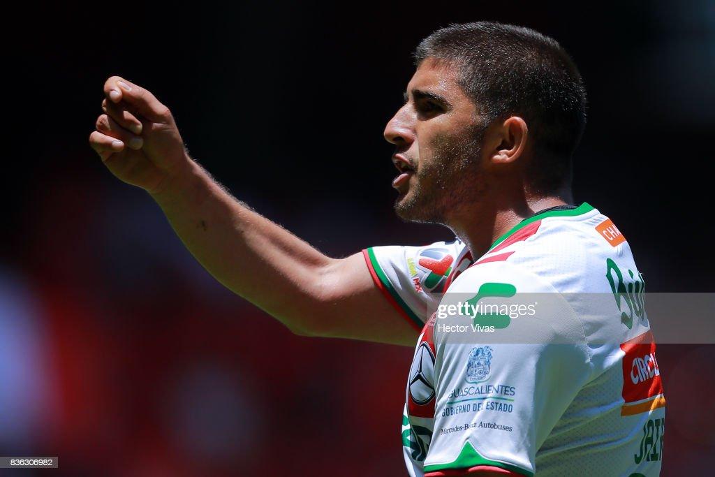 Jairo Gonzalez of Necaxa reacts during the fifth round match between Toluca and Necaxa as part of the Torneo Apertura 2017 Liga MX at Nemesio Diez Stadium on August 20, 2017 in Toluca, Mexico.