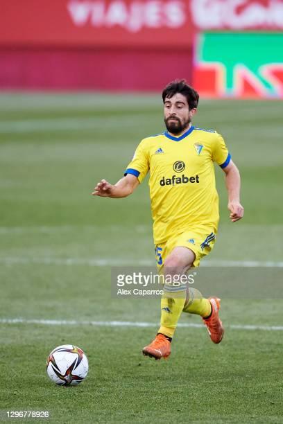 Jairo Izquierdo of Cadiz CF runs with the ball during the Copa del Rey round of 32 match between Girona FC and Cadiz CF at Montilivi Stadium on...