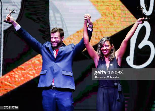 Jairo Klug and Diana Barcelos paralympic athlete pose for photo after winning the best rowing athlete during the Brazil Paralympics Awards Ceremony...