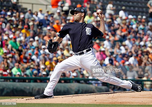 Jairo Labourt of the Detroit Tigers pitches in the first inning during the spring training game against the Pittsburgh Pirates at Joker Marchant...