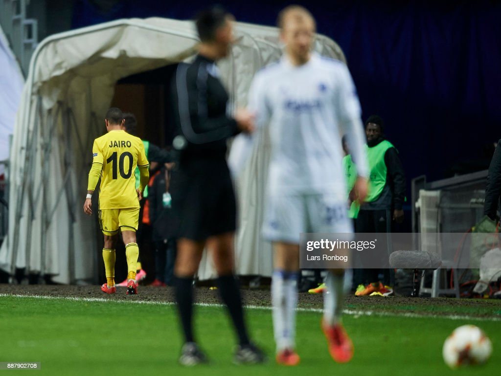 Jairo of FC Sheriff walks off the pitch after receiving a red card from referee Serdar Gozubuyuk during the UEFA Europa League match between FC Copenhagen and FC Sheriff at Telia Parken Stadium on December 7, 2017 in Copenhagen, Denmark.