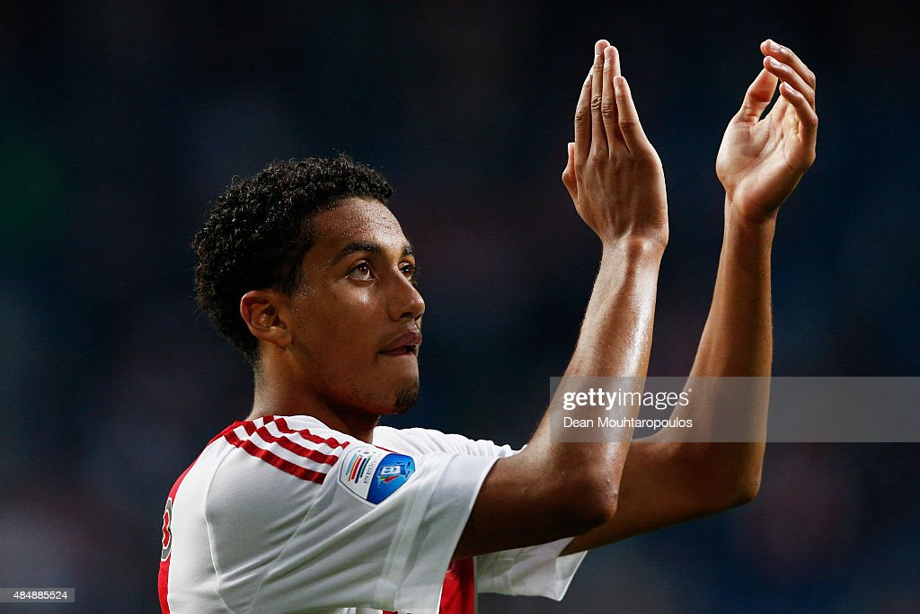 Jairo Riedewald of Ajax applaudes the fans after victory in the UEFA Europa League play off round 1st leg match between Ajax Amsterdam and FK Baumit Jablonec on August 20, 2015 in Amsterdam, Netherlands.