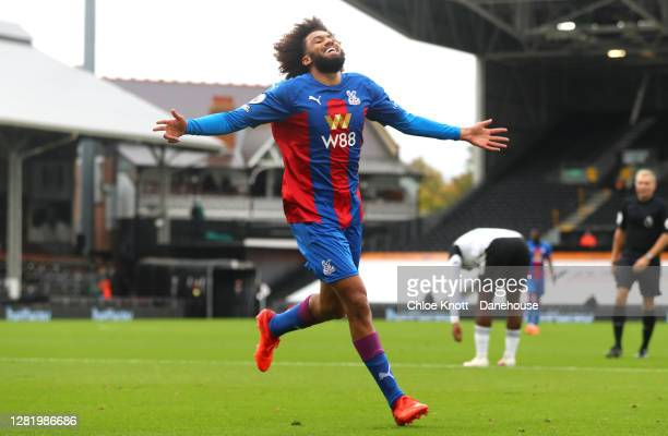 Jairo Riedewald of Crystal Palace celebrates scoring his teams first goal during the Premier League match between Fulham and Crystal Palace at Craven...