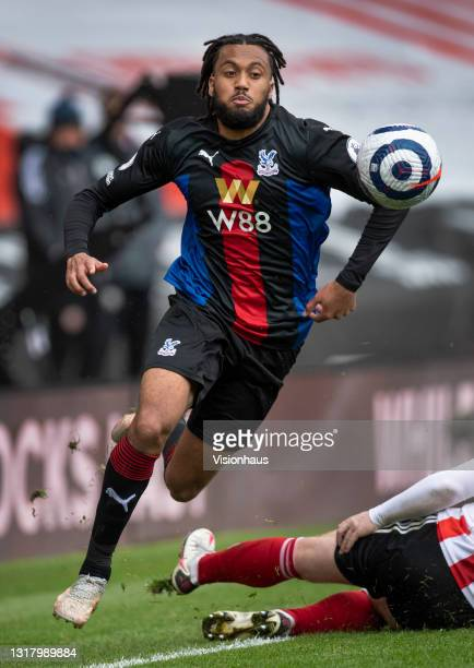 Jairo Riedewald of Crystal Palace in action during the Premier League match between Sheffield United and Crystal Palace at Bramall Lane on May 8,...