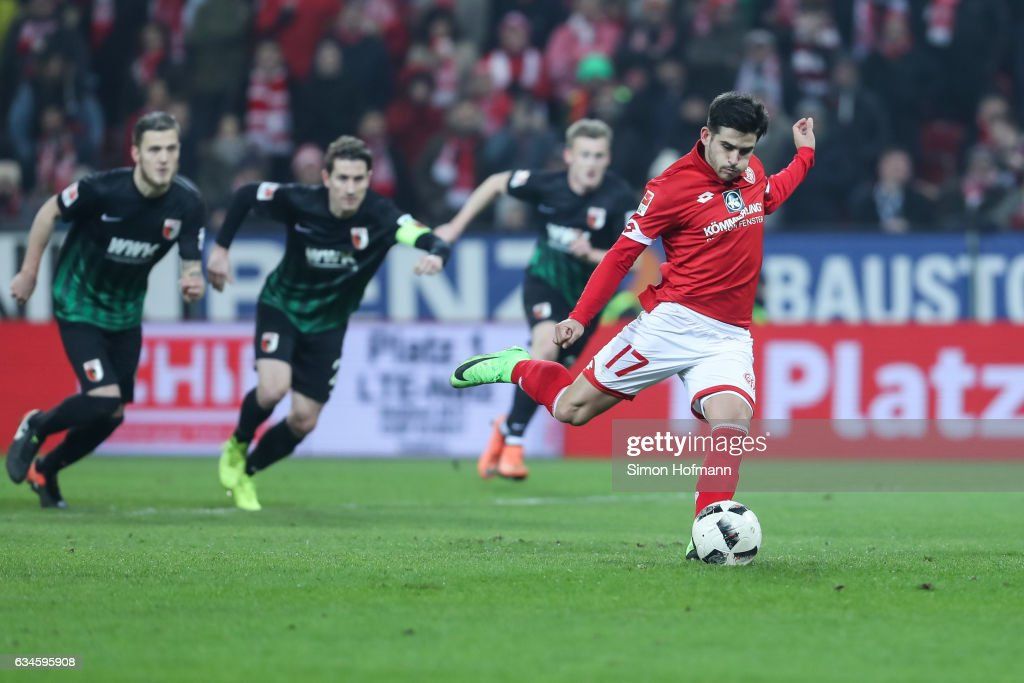 Jairo Semperio of Mainz scores his team's second goal with a penalty kick during the Bundesliga match between 1. FSV Mainz 05 and FC Augsburg at Opel Arena on February 10, 2017 in Mainz, Germany.