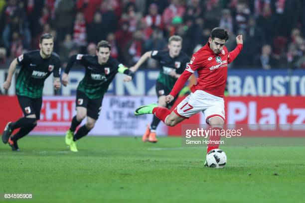 Jairo Semperio of Mainz scores his team's second goal with a penalty kick during the Bundesliga match between 1 FSV Mainz 05 and FC Augsburg at Opel...