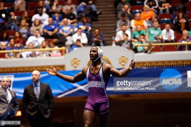Jairod James of Mount Union celebrates after defeating Jon Goetz of WisconsinPlatteville in the 174 weight class during the Division III Men's...