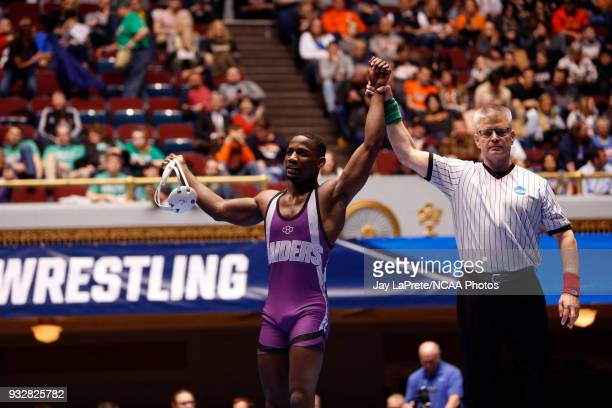 Jairod James of Mount Union is declared the winner after defeating Jon Goetz of WisconsinPlatteville in the 174 weight class during the Division III...