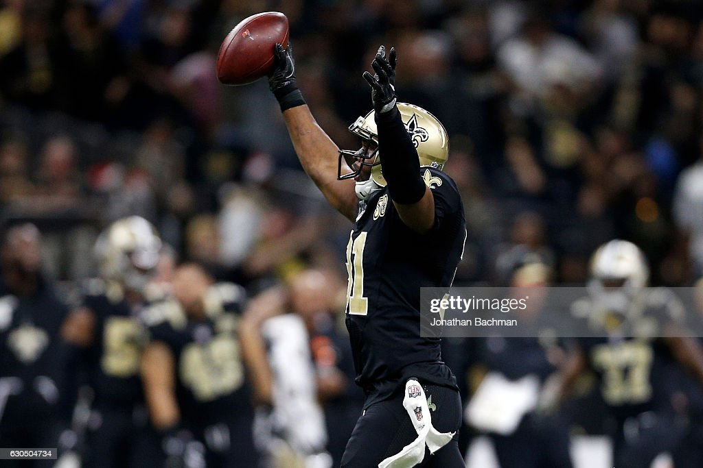 Jairus Byrd #31 of the New Orleans Saints reacts after an interception against the Tampa Bay Buccaneers at the Mercedes-Benz Superdome on December 24, 2016 in New Orleans, Louisiana.