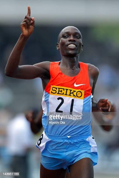 Jairus Kipchoge of Kenya celebrates after winning the Men's 3000m Steeplechase during the Seiko Golden Grand Prix Kawasaki at Todoroki Stadium on May...