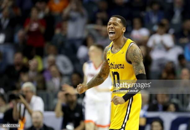 Jairus Lyles of the UMBC Retrievers reacts after a play against the Virginia Cavaliers in the second half during the first round of the 2018 NCAA...