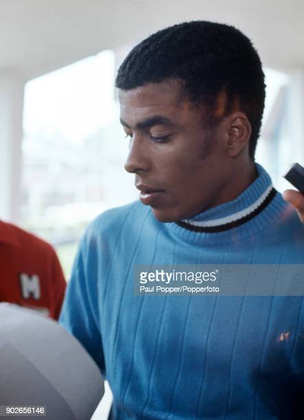 Jairzinho of Brazil signing autographs at the team hotel the day before the FIFA World Cup Final between Brazil and Italy in Mexico City, 20th June...