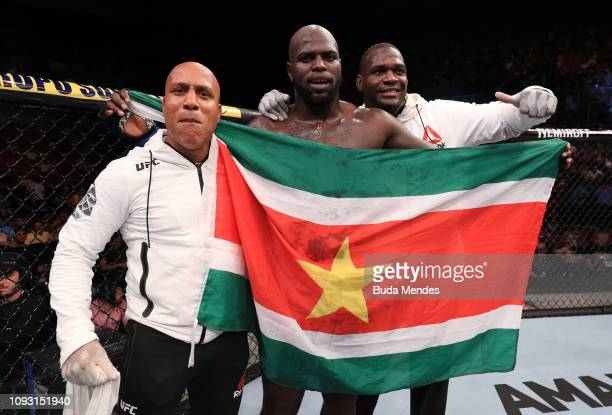 Jairzinho Rozenstruik of Suriname celebrates after his knockout victory over Junior Albini of Brazil in their heavyweight fight during the UFC Fight...