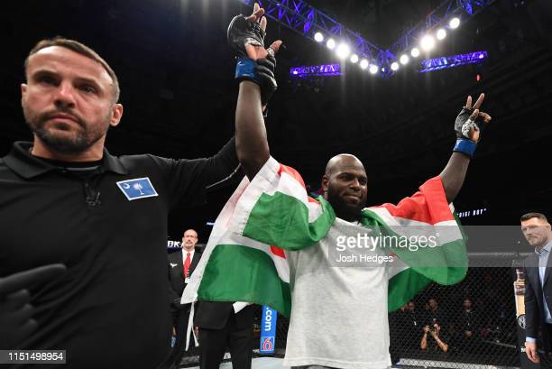 Jairzinho Rozenstruik of Suriname celebrates his KO victory over Allen Crowder in their heavyweight bout during the UFC Fight Night event at Bon...