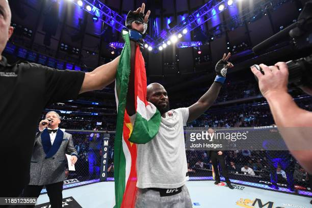 Jairzinho Rozenstruik of Suriname celebrates his KO victory over Andrei Arlovski in their heavyweight bout during the UFC 244 event at Madison Square...