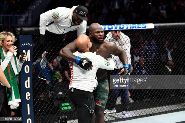 Jairzinho Rozenstruik of Suriname celebrates his KO victory over Alistair Overeem of Netherlands in their heavyweight bout during the UFC Fight Night...