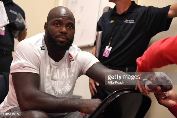 Jairzinho Rozenstruik of Suriname has his hands wrapped backstage during the UFC 244 event at Madison Square Garden on November 02 2019 in New York...