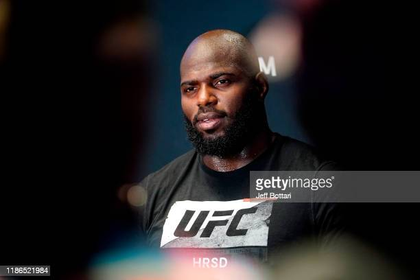 Jairzinho Rozenstruik of Suriname holds an open training session during the UFC Fight Night open workouts at Capital One Arena on December 4 2019 in...