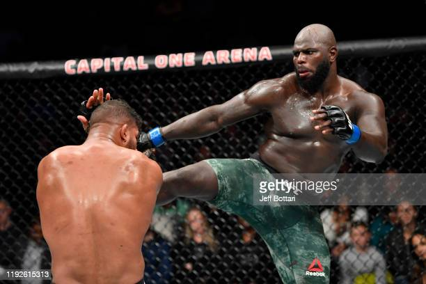 Jairzinho Rozenstruik of Suriname kicks Alistair Overeem of Netherlands in their heavyweight bout during the UFC Fight Night event at Capital One...