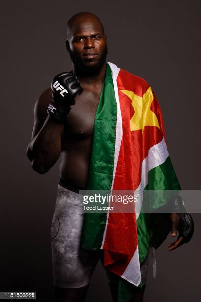 Jairzinho Rozenstruik of Suriname poses for a portrait backstage during the UFC Fight Night event at Bon Secours Wellness Arena on June 22 2019 in...