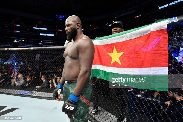 Jairzinho Rozenstruik of Suriname stands in his corner prior to his heavyweight bout against Alistair Overeem of Netherlands during the UFC Fight...